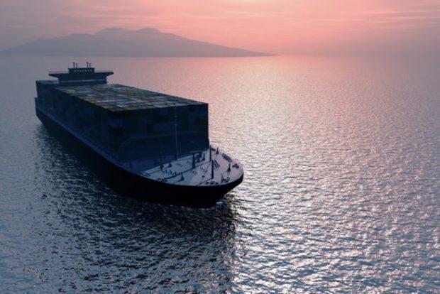 大海原を進む貨物船