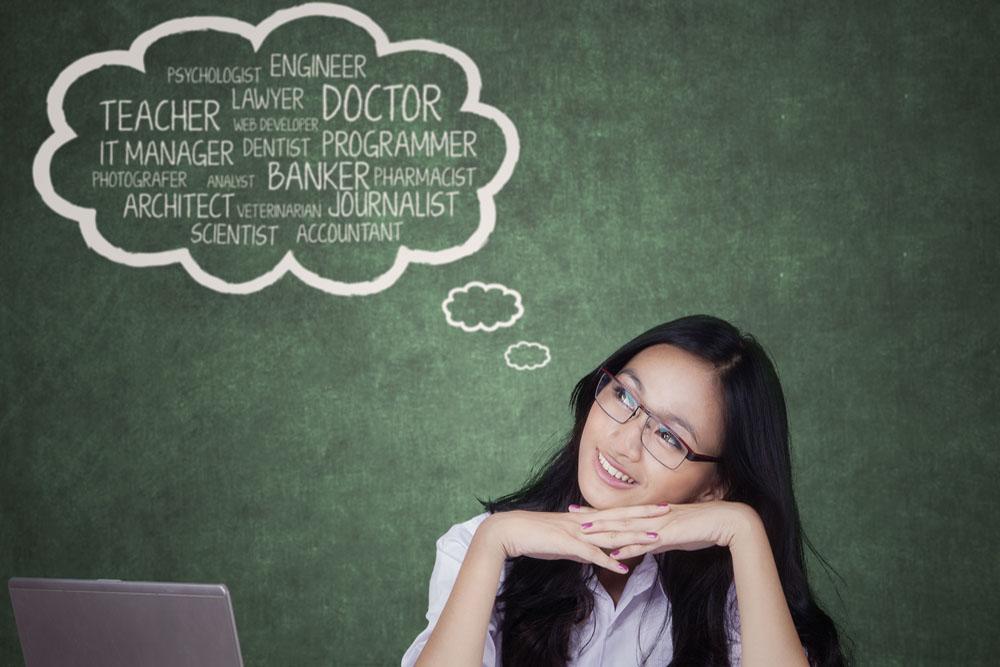 なりたい職業が頭の中に溢れている女性
