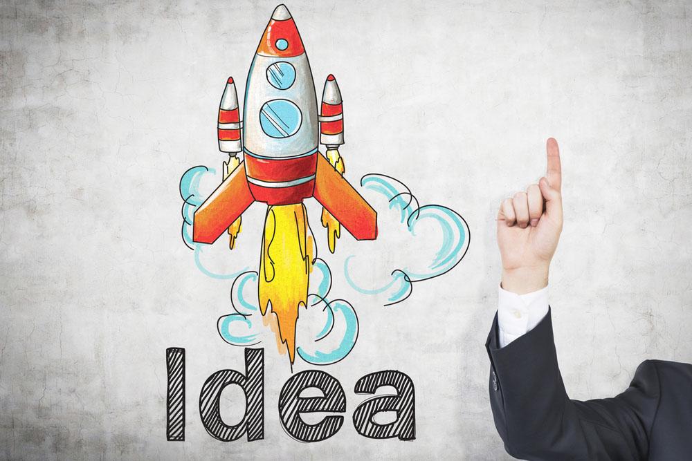 「idea」のロゴとロケットのイラスト