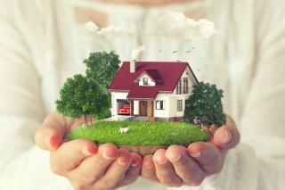 木に囲まれた家の模型