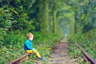 草が生い茂った線路に座る少年
