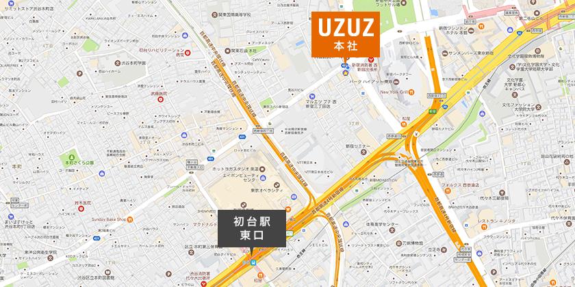 京王新線/都営新宿線「初台駅」東口から「本社オフィス」までの地図