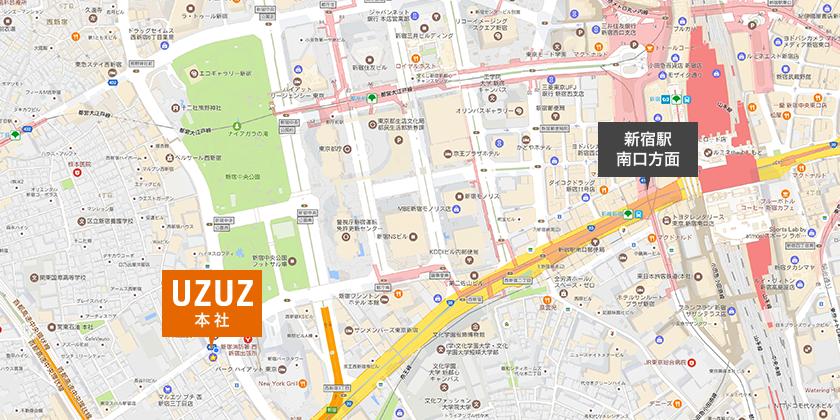 JR「新宿駅」南口から「本社オフィス」までの地図