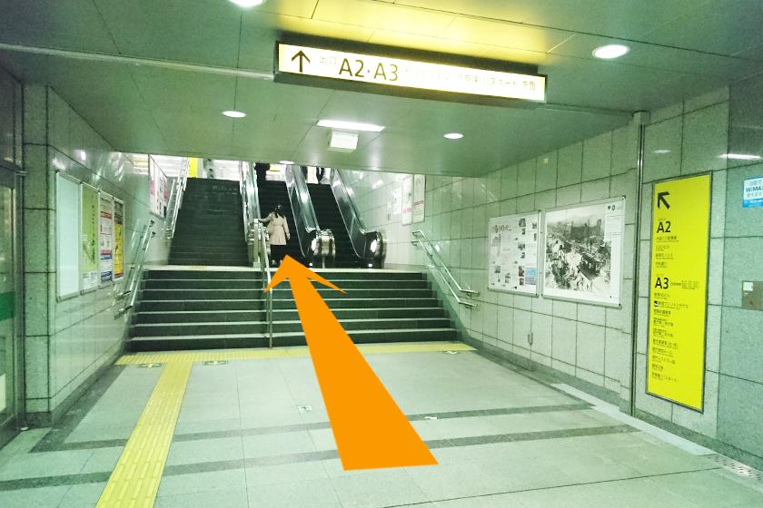 短い階段とエスカレーターを上ります