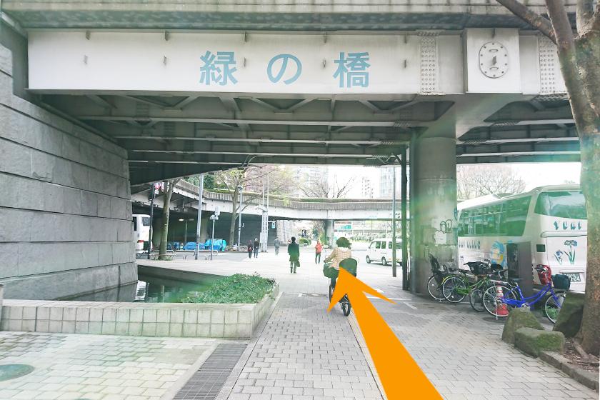 「緑の橋」をくぐり