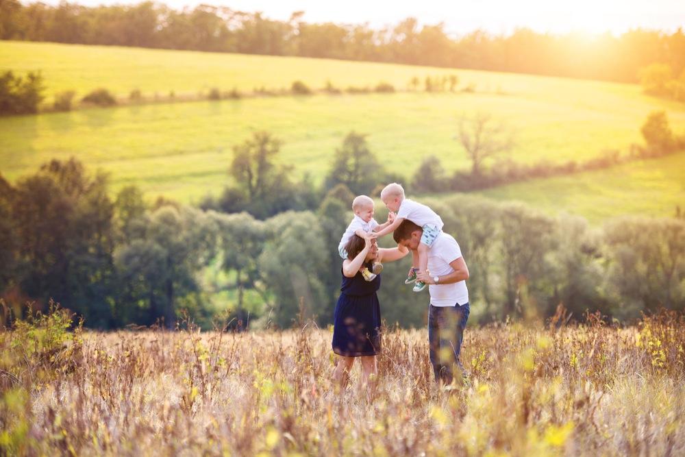 田舎の草原で遊ぶ家族